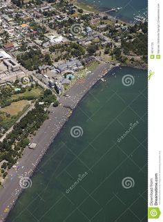Aerial view of the coastal city by the lake Villarrica pucon