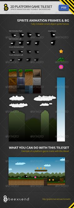 2D Platform Game Tileset — Photoshop PSD #video game #game development • Available here → https://graphicriver.net/item/2d-platform-game-tileset/3529458?ref=pxcr