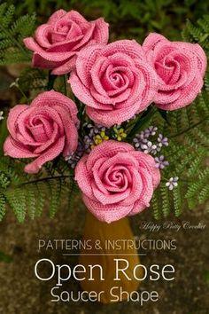 Crochet Rose Pattern by Happy Patty Crochet, Large crochet flowers for bouquets, arrangements and decor