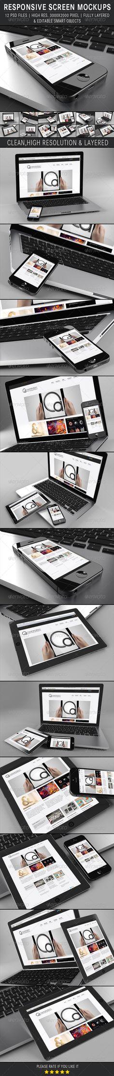 Responsive Screen Mockups. This Pack includes 12 PSD mock-ups ideal for web design showcase, application design, UI/UX design or just Image presentation.
