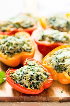 Low FODMAP Recipe and Gluten Free Recipe - oasted capsicum filled with herb quinoa   http://www.ibs-health.com/low_fodmap_roasted_red_pepper_herb_quinoa.html