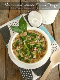 Lentil soup, pumpkin and turnip greens - Minestra di lenticchie, zucca e polezze.