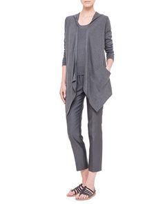 -5XD5 Akris Hooded Silk Jersey Asymmetric Cardigan, Half-Sleeve Silk Jersey Top & Melissa Slim-Fit Techno Pants