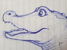 """Karavane Skizze """"Croco"""", Krokodil by www.pegamaus.de   Andrea Isserstedt"""