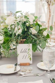 Table Numbers // Elegant Green, Grey, & White Indiana Wedding via TheELD.com Wedding 2017, Wedding Day, Grey And White, Green And Grey, Ventura Design, Simple Elegance, Elegant, Wedding Decorations, Table Decorations