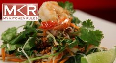 A sensational Vietnamese Chicken and Prawn Salad with vermicelli and sugar peanuts by Emma and Andrew from My Kitchen Rules.