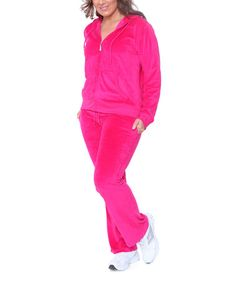 Another great find on #zulily! Fuchsia Velour Zip-Up Hoodie & Sweatpants - Plus #zulilyfinds