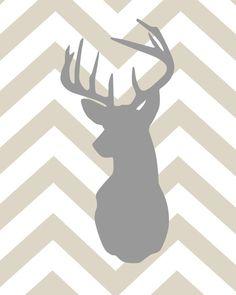 Deer Silhouette with Chevron Zig Zag Stripes Set of by karimachal