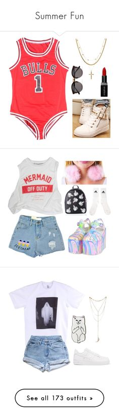 """Summer Fun"" by telletubbies ❤ liked on Polyvore featuring Luv Aj, Smashbox, Illesteva, UNIF, Vox Populi, Current Mood, American Apparel, Levi's, NIKE and RIPNDIP"