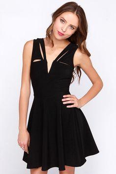 LULUS Exclusive Pretty Positive Black Skater Dress at Lulus.com!