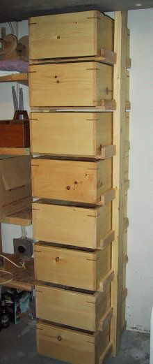 """Building a basement storage solution Could use for contained dry goods or """"on hand"""" veggies to use up....if bins are sealed properly you could do small scale sand root storage?"""