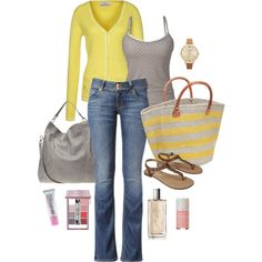 Yellow, grey, spots and stripes. End of summer outfit.