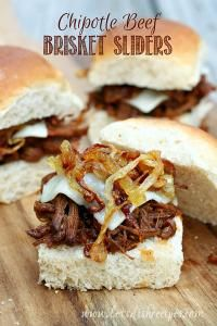 Chipotle Beef Brisket Sliders with Caramelized Onions