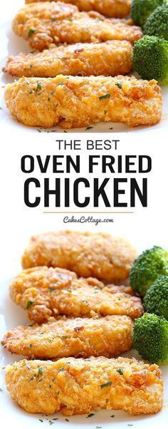 The best oven fried chicken – Crispy on the outside and tender on the inside, and baked right in the oven for easy cleanup. The best oven fried chicken – Crispy on the outside and tender on the inside, and baked right in the oven for easy cleanup. Turkey Recipes, Meat Recipes, Dinner Recipes, Cooking Recipes, Healthy Recipes, Recipies, Cooking Time, Easy Cooking, Cooking Ideas