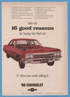 1966 Red Chevrolet Bel Air Sedan Chevy Fleet Sales Car General Motors GM Ad Classic Auto, Classic Cars, Big Six, Chevrolet Bel Air, Car Advertising, Car Posters, Magazine Ads, General Motors, Print Ads