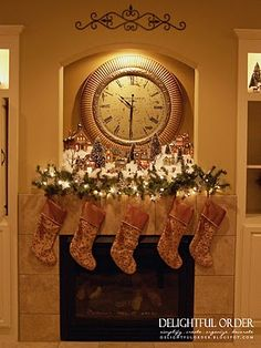 Christmas Stocking Tradition - too small to tell but there is a Christmas lighted village on the mantle above the stockings