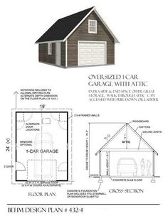 Two car garage with shop and attic truss roof plan 1200 4r for Garage plans with shop space