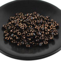 10g Matubo 3 CUT 6 beads Jet BRONZE LUSTER