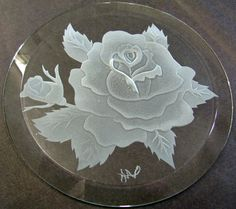 Sandblast carving of a rose