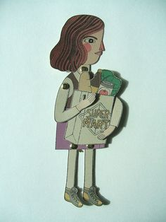Pin Pals shopping paper puppet