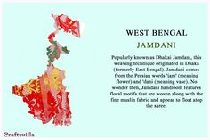WestBengal Jamdani Types Of Embroidery, Indian Embroidery, Hand Embroidery Designs, Folk Embroidery, Embroidery Stitches, Indian Fabric, Indian Textiles, India And Pakistan, India India