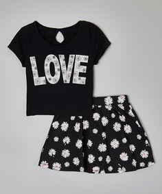 Look at this #zulilyfind! Star Ride Kids Black 'Love' Tee & Skater Skirt - Girls by Star Ride Kids #zulilyfinds
