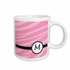 Winston Porter Wald Monogram Letter M Pink Zebra Print Chic Girly Art Coffee Mug Diy Painted Vases, Monogram Coffee Mug, Painted Coffee Mugs, Custom Printed Mugs, Pink Zebra, Cup And Saucer Set, Monogram Letters, Mugs Set, Black And Brown