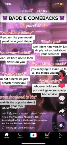 Funny Insults And Comebacks, Clever Comebacks, Funny Comebacks, Funny Texts Jokes, Text Jokes, Teen Life Hacks, Baddie Tips, Baddie Quotes, Self Improvement Tips