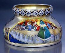 antique Russian cloisonne enamel on silver bowl with Kremlin by Khlebnikov