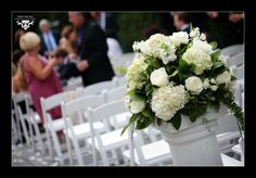 White and green flowers for a spring wedding ceremony