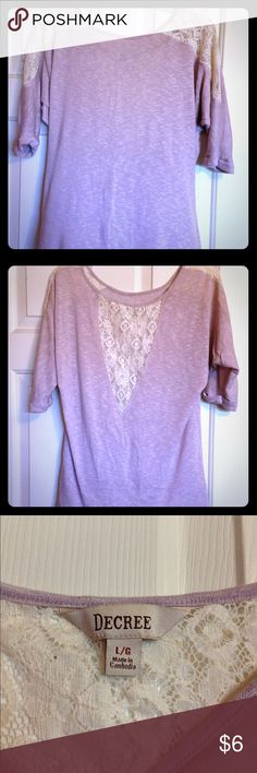 Lavender and lace top Lace is a cream color. Shirt is a loose large that can fall off the shoulder. jcpenney Tops Tees - Long Sleeve