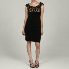 @Overstock - A stunning black lace overlay highlights the cap-sleeve bodice of this sheath dress from London Times. This elegant dress is finished with a form-fitting banded body and a touch of comfortable stretch.http://www.overstock.com/Clothing-Shoes/London-Times-Womens-Black-Lace-Bodice-Banded-Cap-sleeve-Dress/6084250/product.html?CID=214117 $53.99