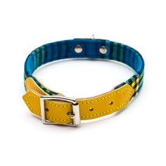 Shuka Blue Check Dog Collar | Hiro Wolf | StyleTails – STYLETAILS
