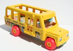 Vintage 1965 Fisher Price Little People Yellow School Bus
