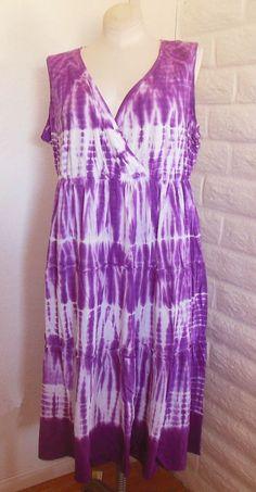 81250bdb82a80 Catherines 2X Purple Orchid Tie-Dye Empire-Waist Surplice Neck Tier Cotton  Dress  . Plus Size Womens ...