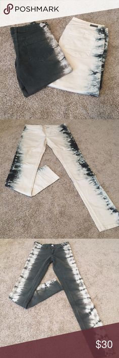 Tye Dye Jean Bundle 2 pairs of tye dye jeans! Both never worn or washed...                                                                   *if you would like them separately let me know and I will make individual listings for each.           The white is a size 28                                        They grey is a size 4 (they both fit me at the same time) element Jeans Skinny