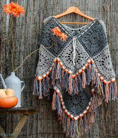 Ponchinho, Crochet Poncho, Granny Squares Poncho, Crochet Poncho Border, Edging, Fringe, Tassels