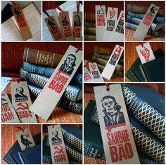 Marcadores impressos com Xilogravura a duas cores sobre papéis Kraft 300 g/m2 e Rives Tradition 270 g/m2.  R$ 15,00 - Embalagem com três marcadores sortidos.