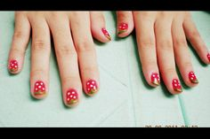 it's my strawberry nail art. cute,isn't it? :p