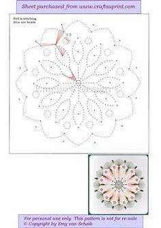 ED089 Spring mandala on Craftsuprint designed by Emy van Schaik - Stitching with beads - Now available for download!