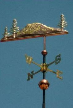 Mountain Weather Vane Mount Rainier by West Coast Weather Vanes.  This handcrafted mountain with trees weathervane can be made using a variety of materials.