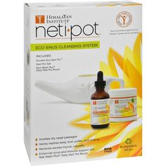 Himalayan Institute Neti Pot Eco Starter - 1 Kit - 0814988  Himalayan Institute Neti Pot Eco Starter Description: Eco Sinus Cleansing System   Soothes Dry Nasal Passages  Gently Washes Away Dust, Pollen and Irritants  Removes Excess Mucus... Naturally  Enhances Sinus and Immune Support with Neti Wash Plus  Visit www.vebrato.com to learn more.