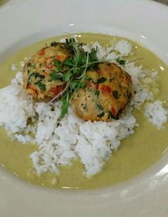 Homeboy Crab Cake on Steamed Rice in Merlot wine sauce