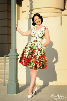 Pinup Couture - Sadie Dress in Red Floral Border Print