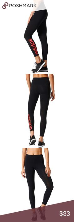 Women's Adidas Essential Linear Tights leggings ADIDAS BRAND TEND TO SELL QUICKY ESPECIALLY LEGGINGS GET THEM NOW!!  PRODUCT FEATURES Elastic waistband Linear adidas graphic on lower-left leg Moisture-wicking technology keeps you dry Tag free  FIT & SIZING Compressive fit  FABRIC & CARE Cotton, elastane Machine wash Imported Adidas Pants Leggings