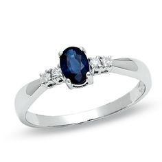 I've tagged a product on Zales: Oval Sapphire Ring in 10K White Gold with Diamond Accents