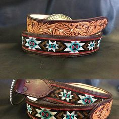 Custom Tooled and Beaded Inlay Western Leather Belts