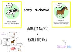Karty ruchowe Zwierzęta na wsi, wiejskie zwierzęta karty ruchowe, zabawy ruchowe wieś Crafts For Kids, Education, Comics, Blog, Speech Language Therapy, Therapy, Kids Arts And Crafts, Comic Book, Blogging