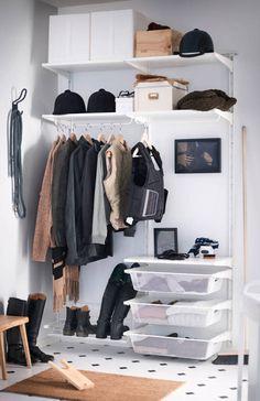 ALGOT Wall upright/rod/shoe organizer, white with black jackets and boots in a white room Ikea Algot, Placard Loft, Ikea Hall, Organiser Son Dressing, Loft Closet, Armoire Ikea, Closet Organization, Shoe Organizer, Ikea Wardrobe
