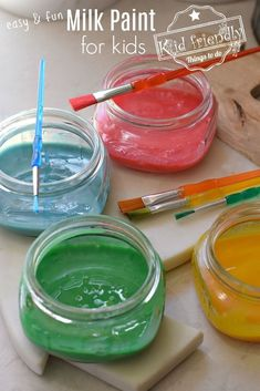 Milk Paint is a fun & easy way to paint with kids. This Milk Paint recipe only uses food coloring and milk. It is safe to use, non-toxic and goes on thick and shiny. Kids love their homemade milk paint creations. www.kidfriendlythingstodo.com #paint #homemade #diy #kids #safe #nontoxic #fun #easy #foodcoloring